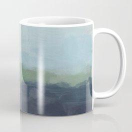 Navy Teal Aqua Sky Blue Green Abstract Wall Art, Painting Art, Nature Horizon, Modern Wall Coffee Mug