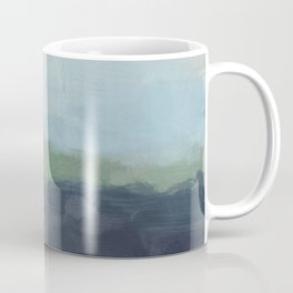 Navy Teal Aqua Sky Blue Green Abstract Wall Art, Painting Art, Nature Horizon, Modern Wall Coffee Mug