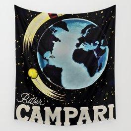 Vintage 1963 Rocket Bottle & Planet Bitter Campari Advertisement Wall Tapestry