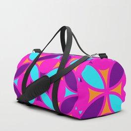 Geometric Floral Circles Vibrant Color Challenge In Bold Purple Pink Orange & Blue Duffle Bag