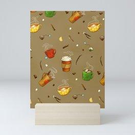 Autumn Drinks Pattern Mini Art Print
