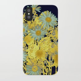blue daisies and gold iPhone Case