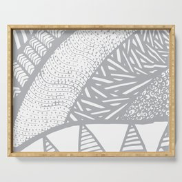 Free Hand Grey scale Doodle Design Serving Tray