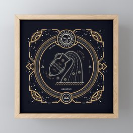Aquarius Zodiac Golden White on Black Background Framed Mini Art Print