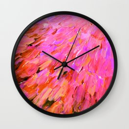 SEA SCALES IN PINK - Hot Pink Feminine Beach Ocean Waves Feathers Abstract Acrylic Painting Fine Art Wall Clock