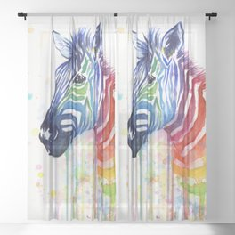 Zebra Rainbow Watercolor Whimsical Animal Sheer Curtain