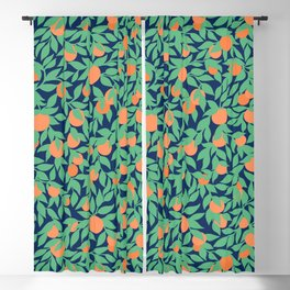 Oranges and Leaves Pattern - Navy Blue Blackout Curtain