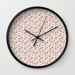 Small Colorado Aspen Tree Leaves Hand-painted Watercolors in Golden Autumn Shades on Petal Pink Wall Clock