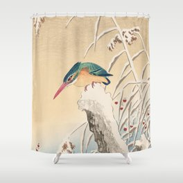 Kingfisher stalking fish - Japanese vintage woodblock print Shower Curtain