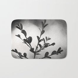 Black and White Nature Botanical Photography, Dark Grey Tree Branch, Neutral Gray Branches Bath Mat