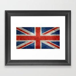 British flag of the UK, retro style Framed Art Print