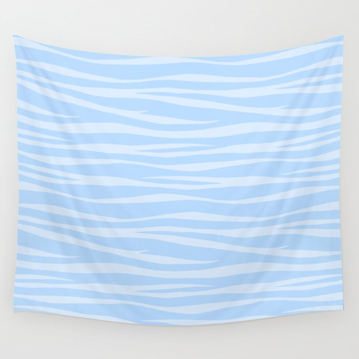 Zebra Print - Wavy Blue Wall Tapestry