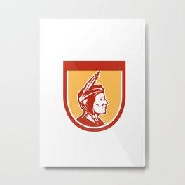 Native American Indian Chief Shield Retro Metal Print