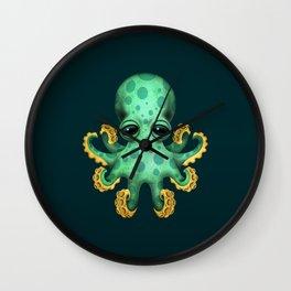 Cute Green Baby Octopus Wall Clock