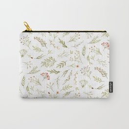 Modern Pink Yellow Green Watercolor Floral Berries Carry-All Pouch