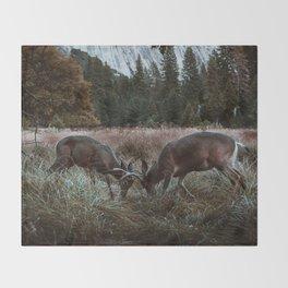 Yosemite Bucks Locking Horns Throw Blanket