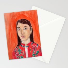Lady with a chinese tunic Stationery Cards