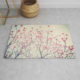 Ruby and Rose Quartz -- Red Pink Dogwood Tree in Flower Rug