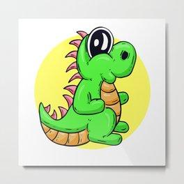 Dino Time! Happy T-Rex Cartoon Character Metal Print
