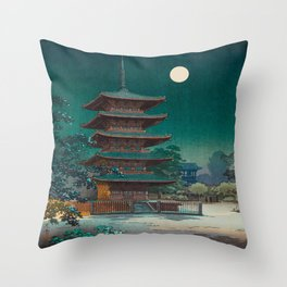 Tsuchiya Kôitsu Japanese Woodblock Vintage Print Garden At Night Moonlit Pagoda Tower Turquoise Sky Throw Pillow