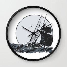 Ship at Sea Wall Clock
