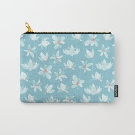 Elegant pastel blue white coral modern floral illustration Carry-All Pouch
