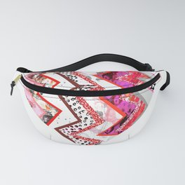 Red Heart Love Pink Zigzags Fanny Pack