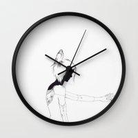 pigeon Wall Clocks featuring Pigeon by Run Rabbit Illustration
