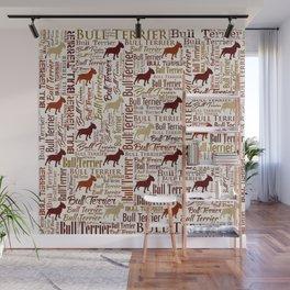 Bull Terrier Dog Word Art pattern Wall Mural