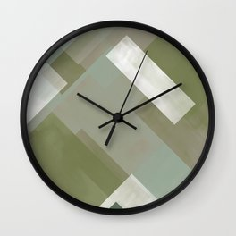 Modern Abstract No. 3   Sage, Blue-Green, Taupe, White + Peacock Wall Clock