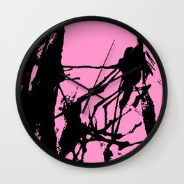 Pink Base black Wall Clock