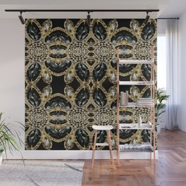 art deco jewelry bohemian champagne gold black rhinestone Wall Mural