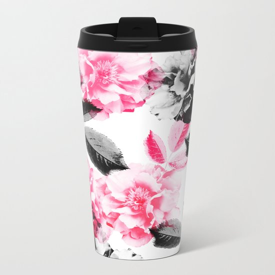 Rose Garden in Pink and Gray Metal Travel Mug