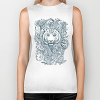 leaf Biker Tanks featuring Tiger Tangle by micklyn