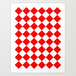 Large Diamonds - White and Red Art Print