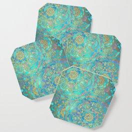 Sapphire & Jade Stained Glass Mandalas Coaster