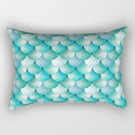 mermaid scales, turquoise shimmer Rectangular Pillow