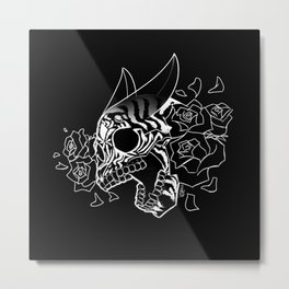 Skull 'n' Roses (NightmareNetty-Black&White) Metal Print