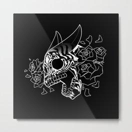 Skull 'n' Roses (NightmareNetty-Black&White) Metal Print