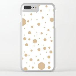 Mixed Polka Dots - Tan Brown on White Clear iPhone Case