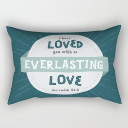 """Everlasting Love"" Hand-Lettered Bible Verse Rectangular Pillow"
