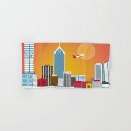 Perth, Australia - Skyline Illustration by Loose Petals Hand & Bath Towel