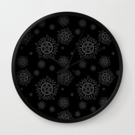 Anti Possession Pattern White Glow Wall Clock