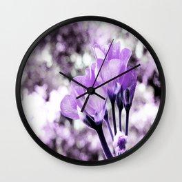 Ultraviolet Lavender Flowers Wall Clock