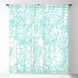 Artistic teal white hand painted floral pattern Blackout Curtain
