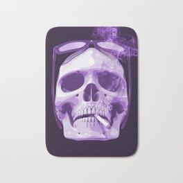 Skull Smoking Cigarette Purple Bath Mat