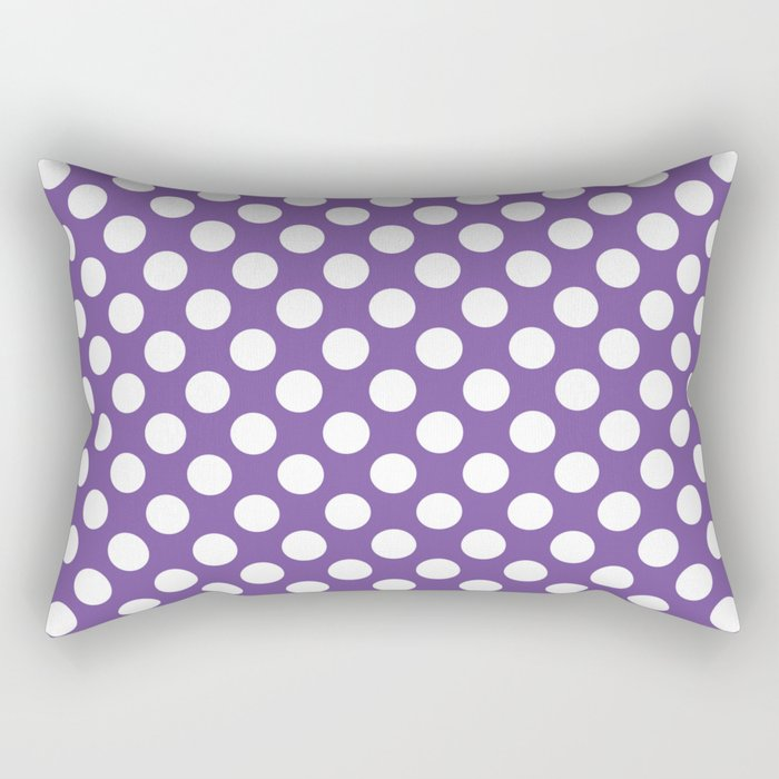 White Polka Dots with Purple Background Rectangular Pillow