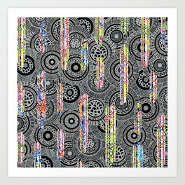 Monochrome Circles with Scattered Stripes Art Print
