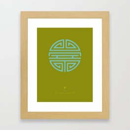 Shou Longevity In Green And Turquoise Framed Art Print