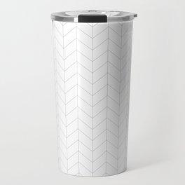 Herringbone Black and White Travel Mug